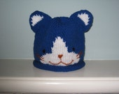 Childs knit Kitty hat (blue)