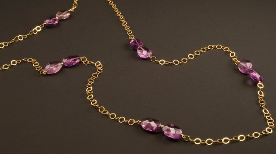 Long amethyst spiked goldfilled chain necklace