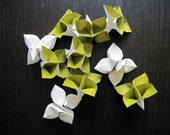 Origami Flowers - Large - Sage Green and White - Set of 10