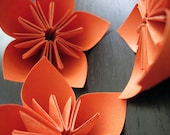 Kusudama Origami Flowers - Orange - Set of 3