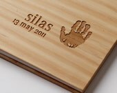 baby book custom engraved wood personalized hand print memory book album baby shower gift