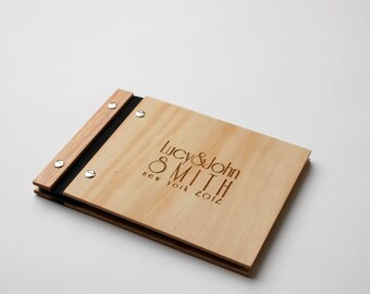 Wedding Guest Book | Album | Wood Anniversary Gift | Wood Wedding Book | Art Deco Style