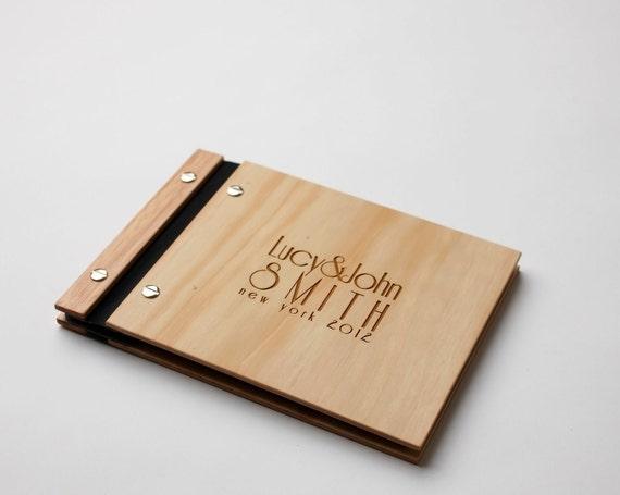 Wedding Guest Book | Album | Wood Anniversary Gift | Wood Wedding Book | Art Deco Style