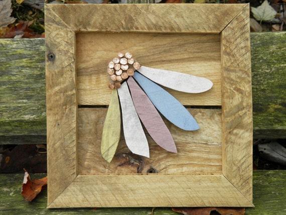 Colorful Coneflower Reclaimed Wood Art