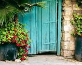 Turquoise door in Ein Karem