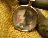 Paper Mixture Metal Pendant with Sterling Silver Chain