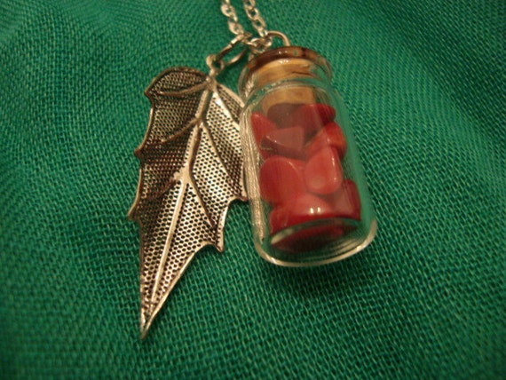 Long Leaf and Bottle Necklace