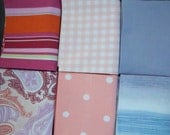SALE Fabric Fat Quarter Bundle Vintage and Upcycled Bed Sheets (6 pack)