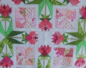 Tulips in the Garden Baby Girl Quilt, Lap Quilt, Table Quilt by Dreamy Vintage Sheets on Etsy