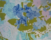 Vintage Bed Sheet Fabric Yardage Turquoise and Lavender Floral