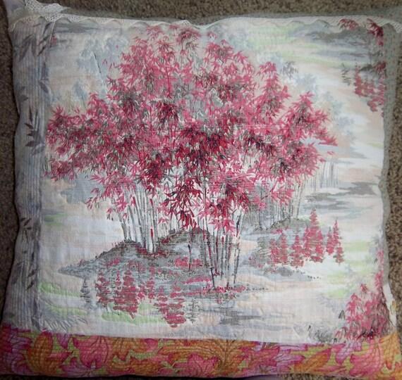 "Decorative Pillow, Statement Pillow, Toss Pillow, Vintage Barkcloth Pillow ""Misty Isle"" By Dreamy Vintage Sheets"