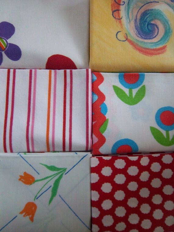Fat Quarter Bundle Vintage and Upcycled Fabric Bed Sheets Playful and Bright (6 pack)