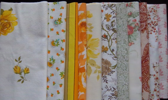 """Vintage Fabric Bed Sheets Dreamy Layered Sunshine Cake (42-10"""" Squares)"""