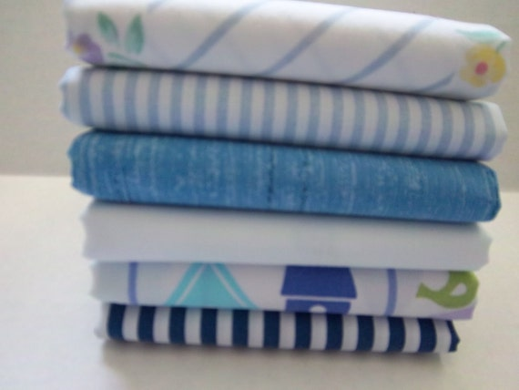 Vintage Bed Sheet Fabric Fat Quarter Bundle Blue and White and Birdhouses (6 Pack)