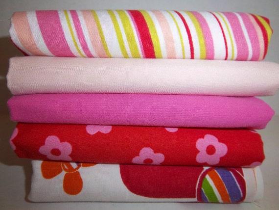 SALE Bed Sheet Fabrics Fat Quarter Bundle Girlie Fun (5 Pack)