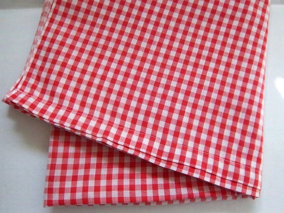 Vintage Red and White Gingham Tablecloth
