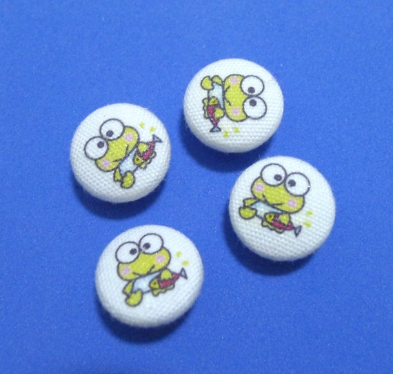 SALE - F02 Fabric Covered Buttons (18 mm) - Set of 4 - Little Keroppi Frog Baby