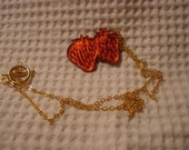 Red strawberry etched necklace mirrored acrylic