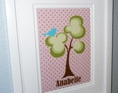 Custom Print WHIMSICAL TREE BIRD Modern Kids Baby