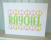 Custom Print PEACE SIGNS Kids Room Personalized wall decor