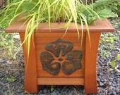 Japanese Style Western Red Cedar Planter w/ Copper and Fretwork Poppy Motif