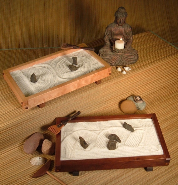 Items similar to tabletop japanese zen rock garden for Table zen garden