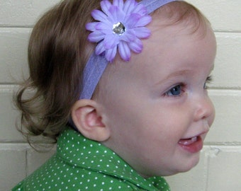 Lavender Purple Satin Headband with Daisy - Baby, Toddler, Child, Teen, Adult