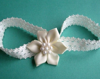 Ivory Lace Headband with Satin and Pearl Rose - Baby, Infant, Toddler, Child