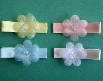 Organza Flowers Hair Clips - Blue, Yellow, Pink, White - No Slip Grip