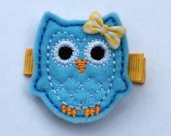 Owl Felt Hair Clip - Blue - No Slip Grip