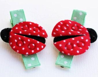 Ladybug Hair Clips - No Slip Grip