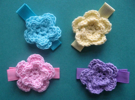 Crochet Hair Clips - Crocheted Flowers Purple, Yellow, Pink and Blue ...