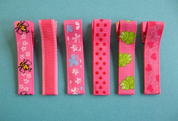 Hot Pink Hair Clips Set - No Slip Hair Clips