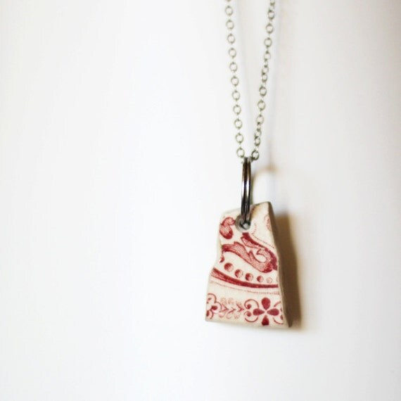 SALE Necklace - Salvaged ceramics - French history
