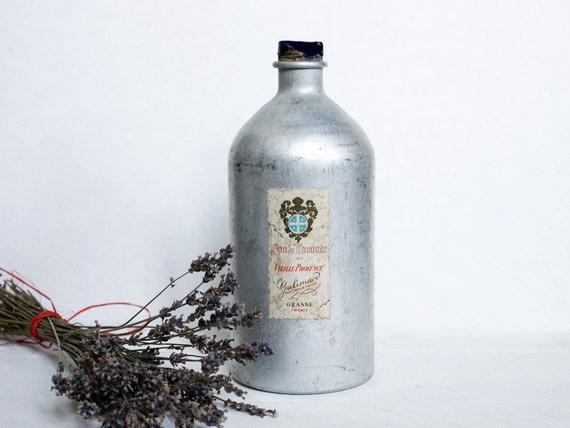 Vintage perfume bottle, A French metal perfume bottle, eau de lavande, Galimard
