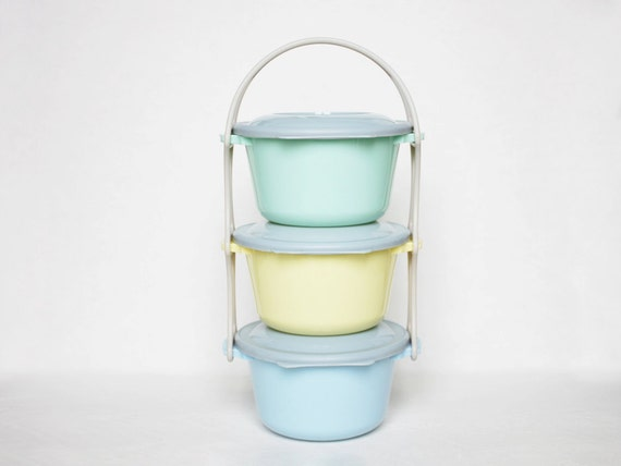 Colorful vintage storage containers from the fifties