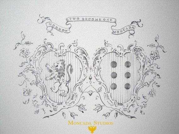 Combined double family crest original illustration