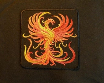 "Firey Phoenix Iron on Patch 5.80"" x 5.90""."
