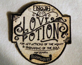 """Love Potion No.9 Iron on Patch 3.6"""" x 3.75"""""""