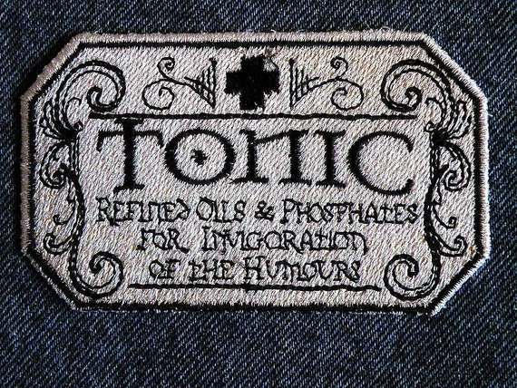 """Apothecary Tonic Iron on Patch 3.86"""" x 2.4"""""""