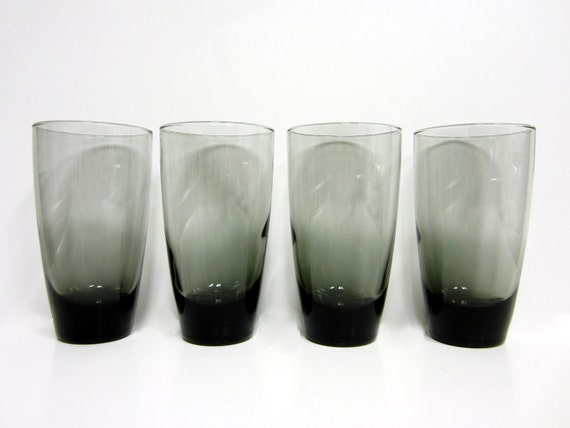 4 vintage midmodern smoke grey drinking glasses juice