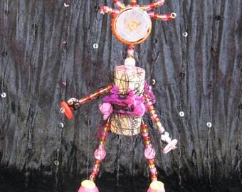 Primitive Cork Art Doll - Fancy Cork Dollie