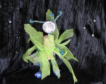 Primitive Cork Art Doll - Fancy Cork Fairy Green