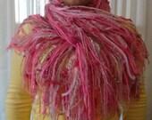 Pale Pink to Dark Raspberry Pink All Fringe Fashion Scarf