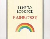5x7 I Like to Look for Rainbows Art Print LDS Mormon