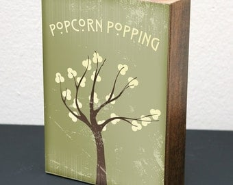 Popcorn Popping • 5x7 Wood Block Art Print • Green • LDS Mormon Apricot Tree Woodblock