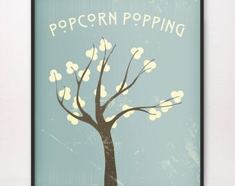 Popcorn Popping • Art Print • Various Colors Available • LDS Mormon Apricot Tree