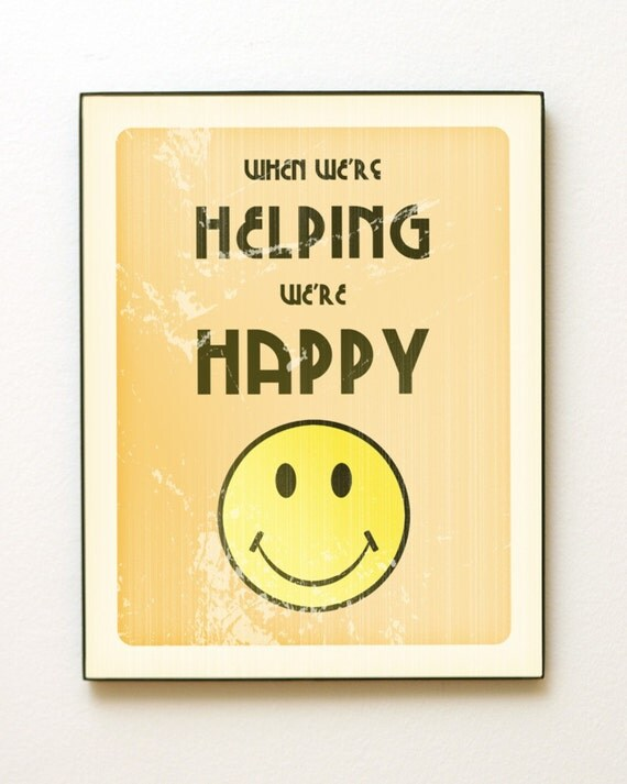 11x14 When We're Helping We're Happy Giclée Art Print LDS Mormon Orange