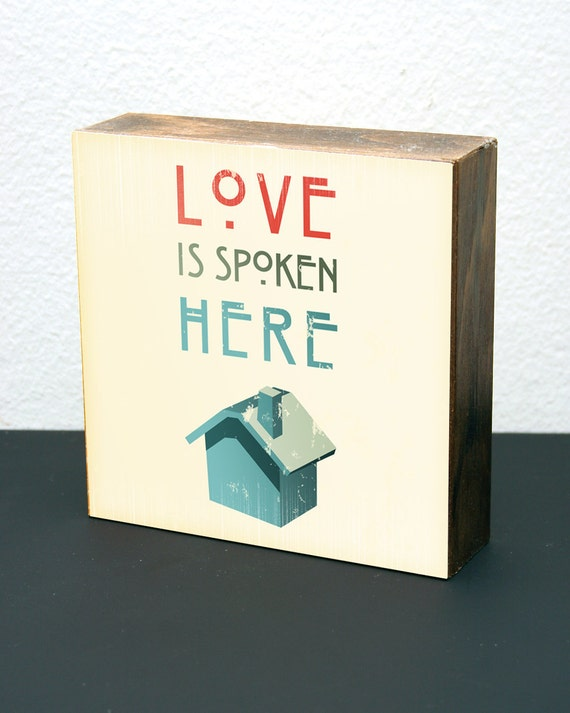 Love Is Spoken Here (Cream)-6x6 Wood Block-LDS/Mormon
