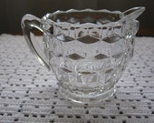 Vintage Depression Glass Set of 2 Clear Creamers Milk Pitchers Cubist and Diamond Pattern